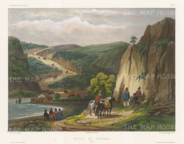 Road to Santiago, Chile: View along a small bay. After Barthelemy Lauvergne, artist on the voyage of La Bonite 1836-7.