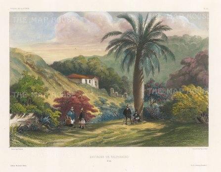 Valparaiso environs: After Barthelemy Lauvergne, artist on the voyage of La Bonite 1836-7.