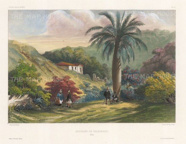 Valparaiso, Chile: View of the environs. After Barthelemy Lauvergne, artist on the voyage of La Bonite 1836-7.
