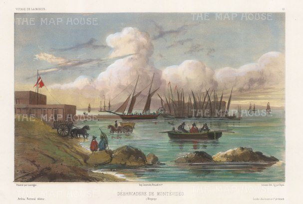 View of the landing-stage in the port. After Barthélemy Lauvergne, artist on the voyage of La Bonite 1836-7.