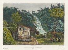 Rio de Janeiro: View of the Tijouka Waterfall in the environs. After Theodore-Auguste Fisquet, artist on the voyage of La Bonite 1836-7.
