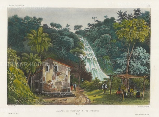 Tijouka Waterfall on the outskirts on the outskirts of Rio De Janeiro. After Barthelemy Lauvergne, artist on the voyage of La Bonite 1836-7.