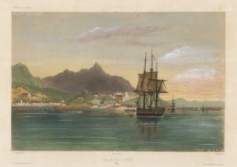 Rio de Janeiro: View of the city and bay from the Atlantic. After Barthélemy Lauvergne, artist on the voyage of La Bonite 1836-7.