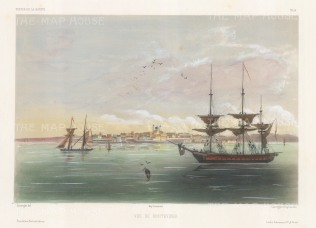 View of the city from Rio de la Plata. After Barthélemy Lauvergne, artist on the voyage of La Bonite 1836-7.