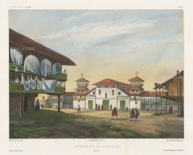 Guayaquil. View of the Cathedral of San Pedro Apostle on Santa Ana Hill destroyed by fire in 1892. After Barthélemy Lauvergne, artist on the voyage of La Bonite 1836-7.
