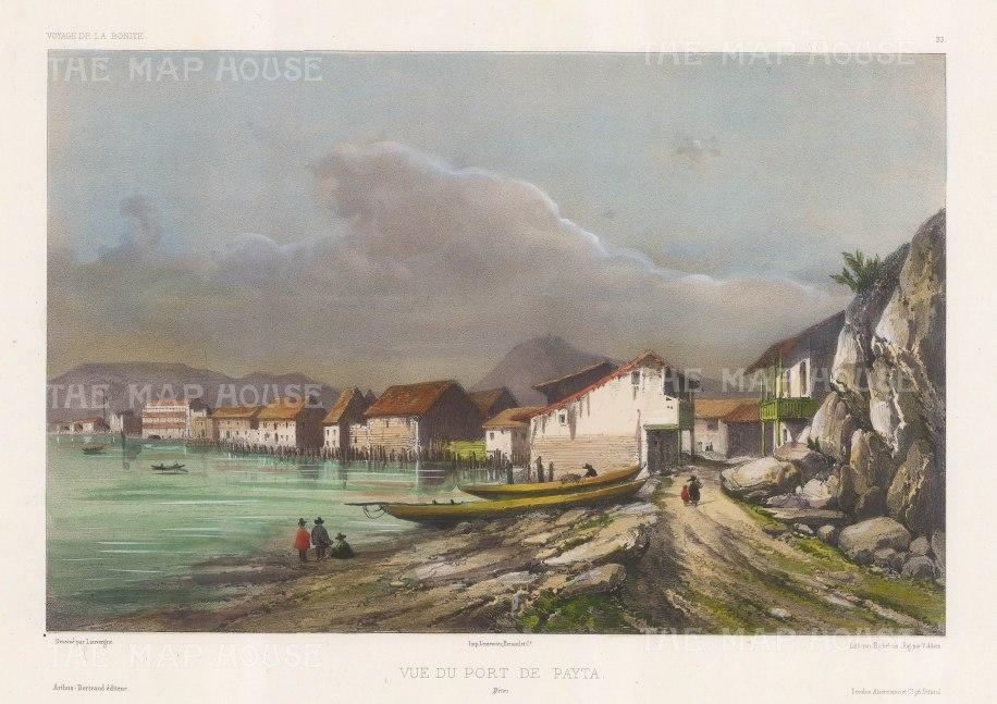 Bay of Paita. After Barthelemy Lauvergne, artist on the voyage of La Bonite 1836-7.
