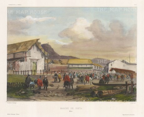 Paita, Peru: View of the marketplace. After Barthelemy Lauvergne, artist on the voyage of La Bonite 1836-7.