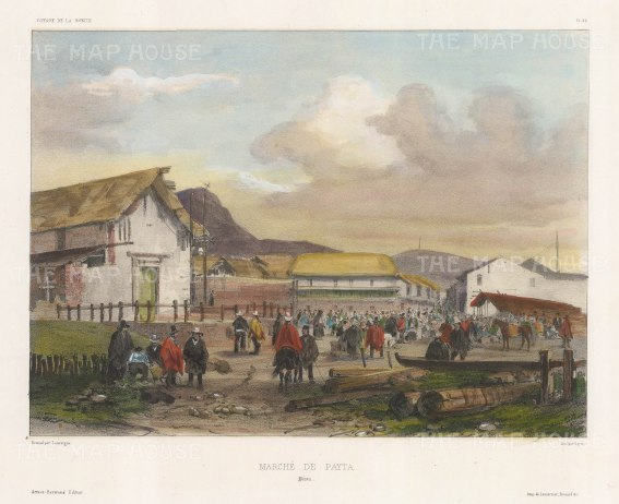 View of the marketplace. After Barthélemy Lauvergne, artist on the voyage of La Bonite 1836-7.
