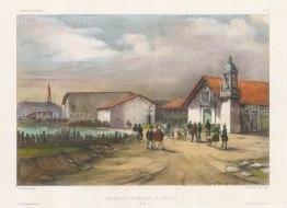 Church de la Merced (Order of Mercy). After Barthélemy Lauvergne, artist on the voyage of La Bonite 1836-7.