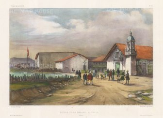 Paita: Church de la Merced (Order of Mercy). After Barthelemy Lauvergne, artist on the voyage of La Bonite 1836-7.
