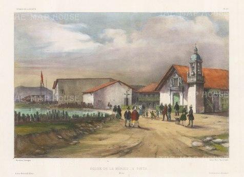 Paita: Church de la Merced (Order of Mercy). After Barthelemy Lauvergne, artist on the voyage of La Bonite 1836-7.
