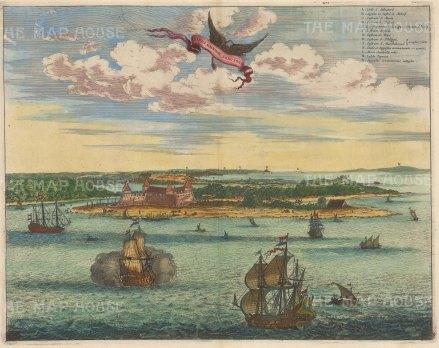 Sao Salvador and Baia de Todos os Santos. With key in Latin.