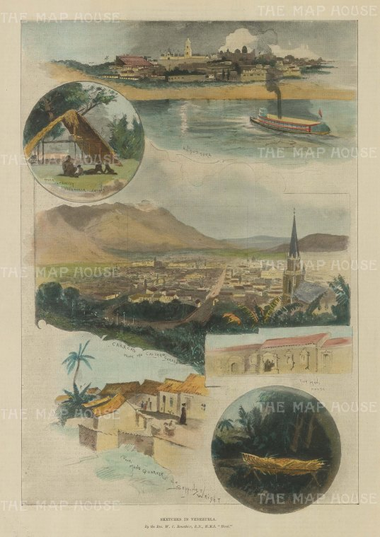 Caracas, Venezuela: Panorama of Caracas, view of Angostura and four vignettes of Venezuelan life.