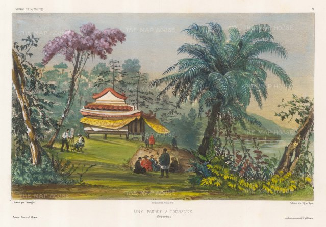 Touranne (Da Nang), Vietnam: View of a Pagoda with the artist sketching in the foreground. After Barthelemy Lauvergne, one of the artists on the voyage of La Bonite 1836-7.