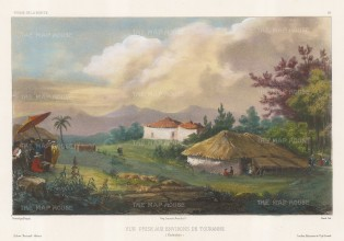 Tourane (Da Nang), Vietnam: View of the environs with the artist sketching in the foreground. After Theodore-Auguste Fisquet, artist on the voyage of La Bonite 1836-7.