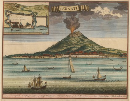 Ternate, Molluccas: View of the mount erupting with inset plan of the fort founded in 1522 by the Portuguese governor Antonio de Brito.