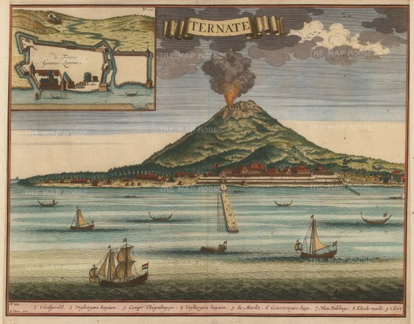 Molluccas: Ternate: View of the mount erupting with inset plan of the fort founded in 1522 by the Portuguese governor Antonio de Brito.