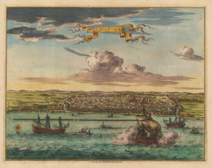 Bantam (Banten), Java: Panorama of the city with galleons in the bay (possibly depicting the 1601 Dutch victory over the Portuguese). The most important port for the spice trade until the late 18th century when its harbour silted up.
