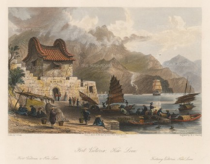 Fort Victoria, Kowloon. View of the small British fort with Sampans in the bay.