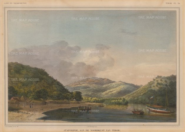 "Van de Velde: Atapupu, Timor. 1856. An original colour antique lithograph. 14"" x 11"". [SEASp74]"