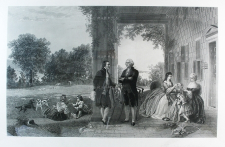 George Washington and the Marquis de Lafayette at Mount Vernon with Washington's family. After T. P. Rossiter & L. R. Mignot, engraved by Thomas Oldham Barlow. The head of Washington is based on a bust by Jean Antoine Houdon