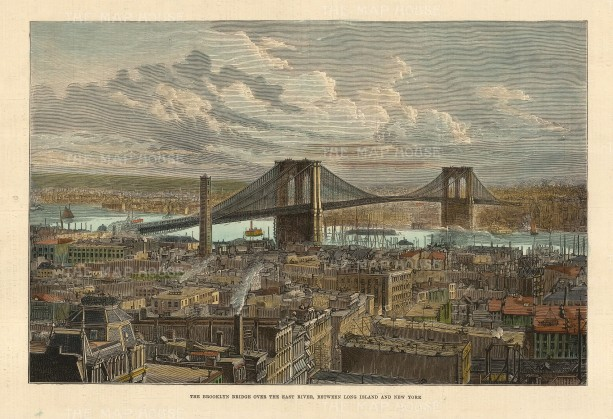 Brooklyn Bridge over the East River: Panorama from Long Island to New York.