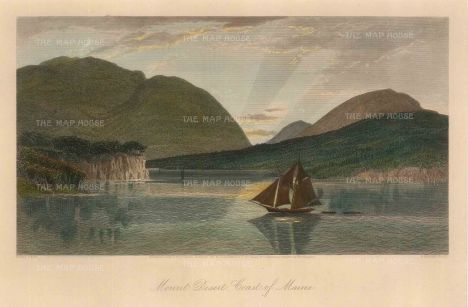 "Picturesque America: Mount Desert, Maine. 1872. A hand coloured original antique steel engraving. 10"" x 7"". [USAp4739]"