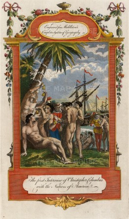 Christopher Columbus's first Interview with the Natives of America. Allegorical view.