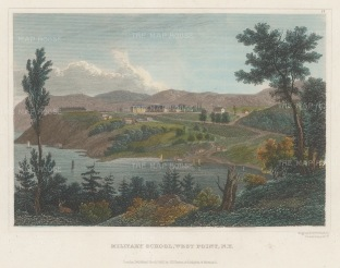 """Hinton: West Point Academy, New York. 1831. A hand coloured original antique steel engraving. 6"""" x 4"""". [USAp4832]"""