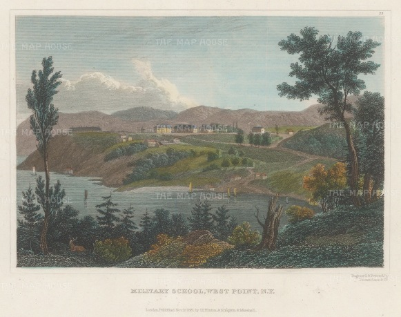 "Hinton: West Point Academy, New York. 1831. A hand coloured original antique steel engraving. 6"" x 4"". [USAp4832]"