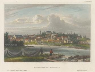 "Meyer: Richmond, Virginia. 1836. A hand coloured original antique steel engraving. 4"" x 6"". [USAp4835]"