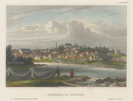 "Meyer: Richmond, Virginia. 1836. A hand coloured original antique steel engraving. 4"" x 6"". [USAp4835]"