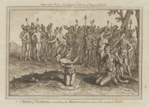 King Outina of the Timucua consulting his magician prior to battle. Based on the 1591 engraving after Jacques le Moyne de Morgues, artist on René de Laudonnière's 1564 expedition.