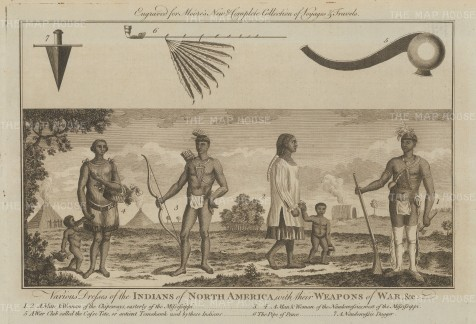 Native Americans and their weapons of War: Chippewas and Naudowessie.