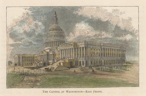 "Lovett: The Capitol, Washington, DC. 1841. A hand coloured original antique wood engraving. 5"" x 3"". [USAp4851]"