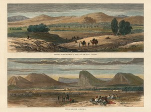 Kandahar and Quetta: Two panoramic views of the approaches to the city and fortress.