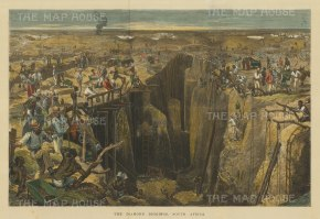 "Illustrated London News: Diamond Diggings. 1872. A hand coloured original antique wood engraving.19"" x 14"". [AFRp1315]"
