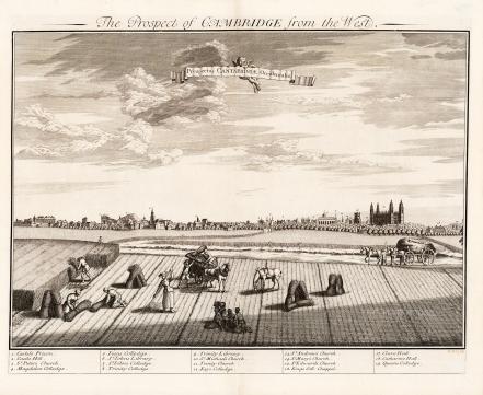 """Kip: Cambridge. c1720. An original antique copper engraving. 24"""" x 19"""" [CAMBSp412]"""