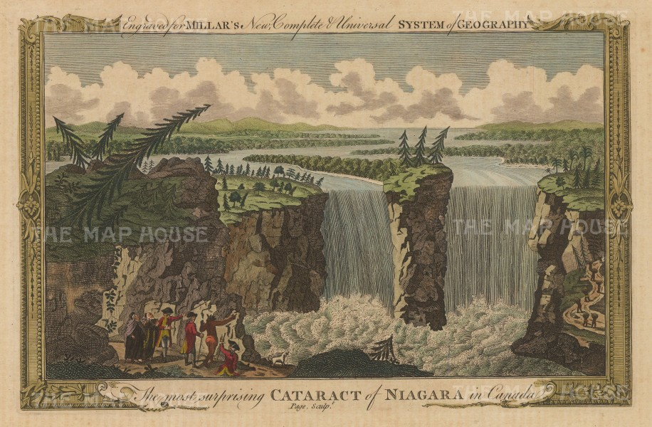 Niagara Falls: View of Horseshoe Falls on the Canadian side and Horseshoe Falls, Goat Island, the American Falls and the Bridal Veil Falls on the American side.