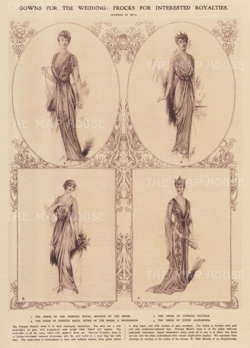 Dresses for the Royal entourage of Princess Alexandra, Duchess of Fie who married Prince Arthur of Connaught.