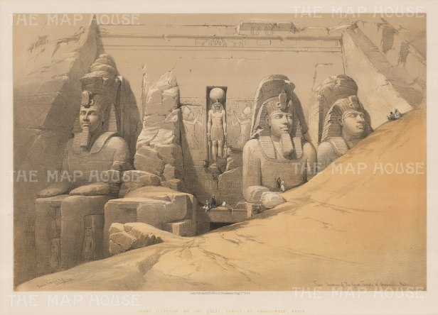 Abu Simble: Elevation of the Great Temple of Ramses II with the four colossi of the Pharaoh with a bas-relief of the god Ra Harakht in center.
