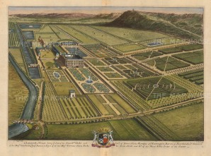 "Kip: Chatsworth House, Derbyshire. 1707. A hand coloured original antique copper engraving. 19"" x 14"". [ENGp283]"