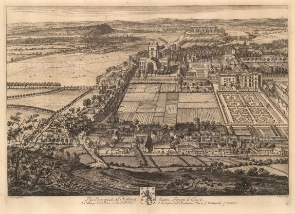 Nottingham: From the East. Aerial View.