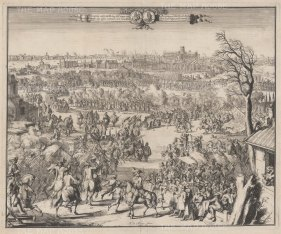 PAIR Reception of HRH the Prince of Orange on entering London: De Hoogh, a great propogandist of William III, used the sketches of his draughtsman Hekhuisan as the raw material for this view, where London is shown with a pre Great Fire of 1666 skyline.