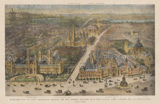 South Kensington: Bird's Eye View of Old Brompton Road with the Natural History Museum and the V & A, and Exhibition Road to the Imperial Institute and the Royal Albert Hall. After H.W. Brewer.