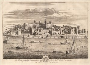 SOLD. Tower of London: Panorama from across the Thames with the arms of the Constable of the Tower, Sir Robert Lucas.