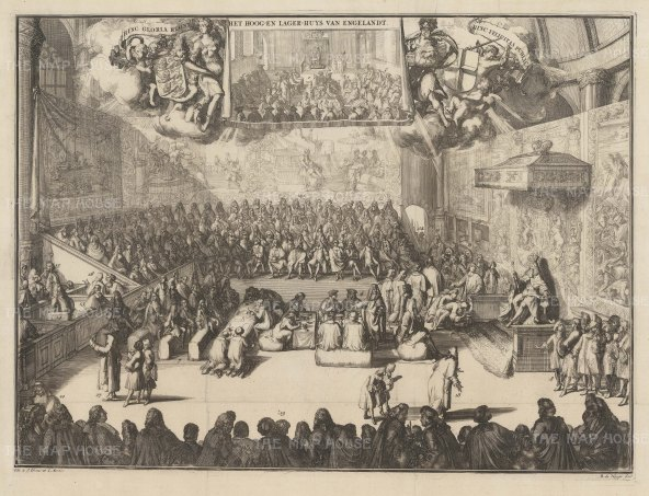 PAIR Upper and Lower House of England: William III presides in the House Commons, with a smaller sketch of the House of Lords above. On the walls hang the famous Hendrick Vroom Arrmada Tapestries commissioned by Lord Admiral Howard and destroyed in the fire of 1834.