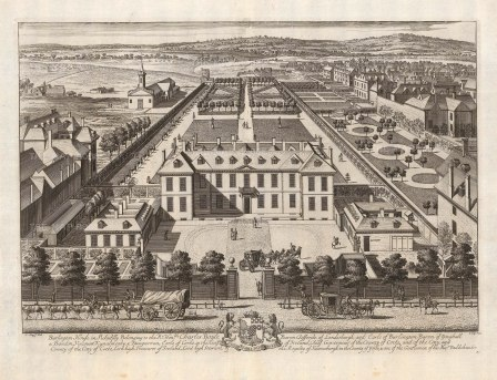 Burlington House (Royal Academy): Bird's-eye view of the north side of Piccadilly.