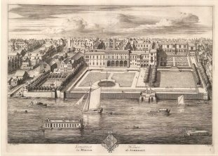 Somerset House: Bird's-eye view of surrounding area and the Thames.