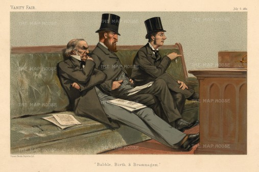 House of Commons: Babble, Birth and Brummagem. Treasury Bench:William Gladstone, Duke of Devonshire and Joseph Chamberlain.